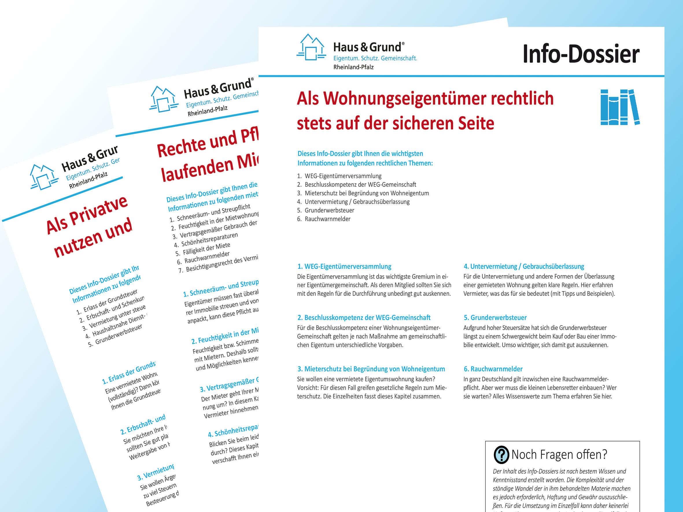 Infos in Dossiers von Haus & Grund: Nützliche Ratgeber rund um die Vermietung der eigenen vier Wände.