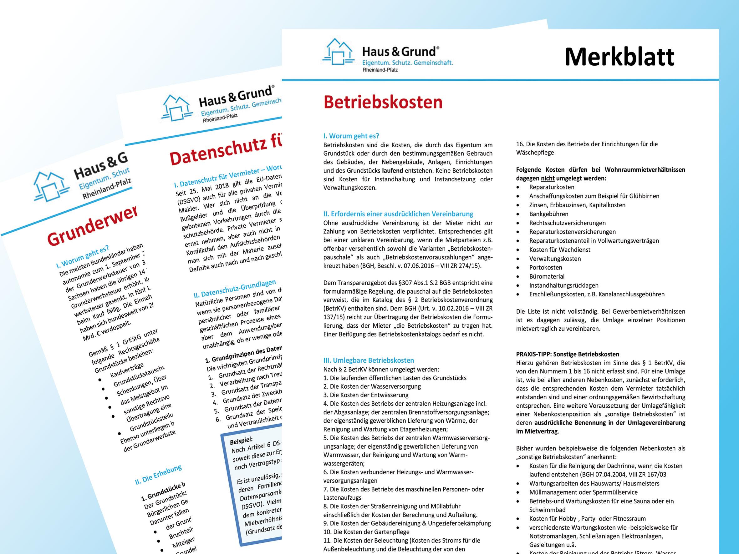 Merkblätter von Haus & Grund: Gebündelte Infos für private Eigentümer und Vermieter