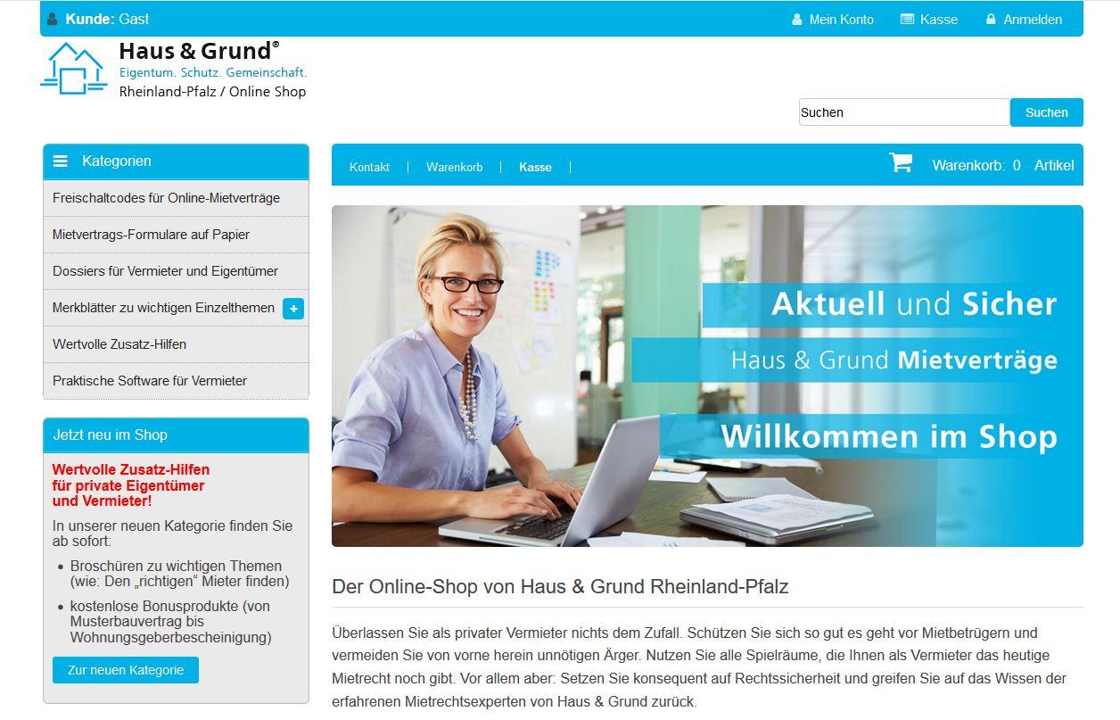 Bequem online kaufen - zum Shop von Haus & Grund Rlp
