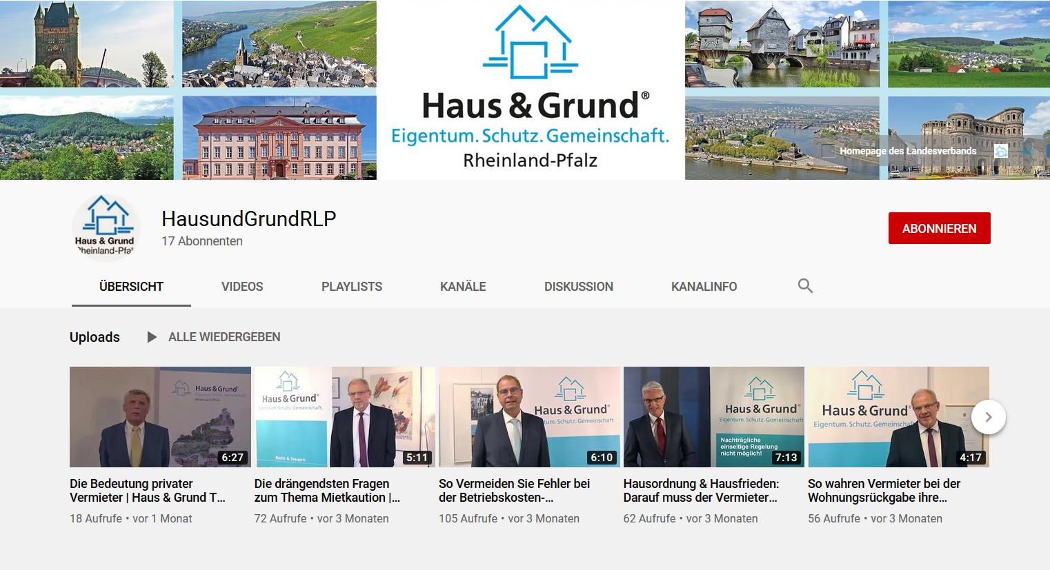 Infos bei Haus & Grund TV: Experten im Interview auf Youtube!